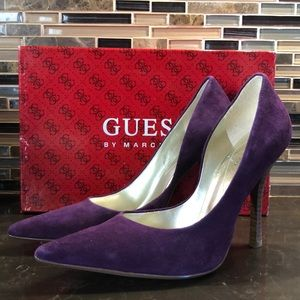 Guess Carrie pointy heel suede leather heels